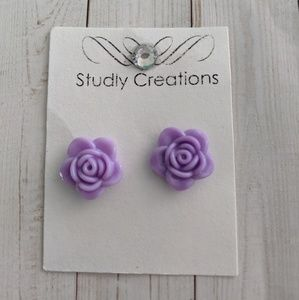 🆕 lilac Rose floral earrings